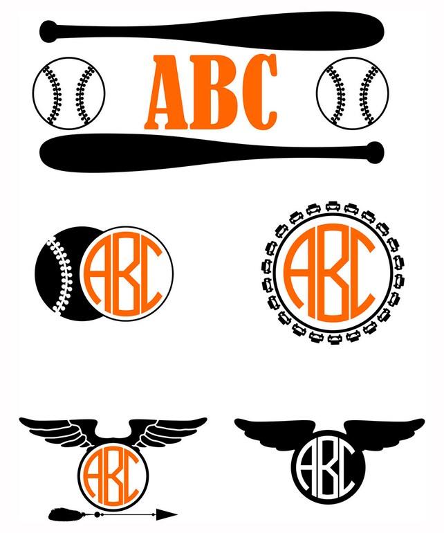 Boys Baseball monograms SVG Kids vector monogram Frames svg | Etsy