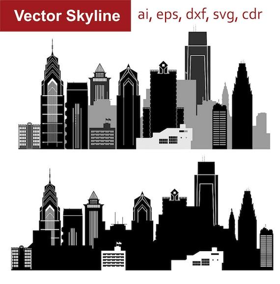 philadelphia skyline von svg pennsylvania vektor skyline der | etsy  etsy