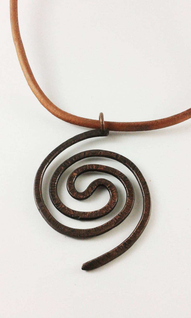 Moana symbol Leather necklace copper wire necklace cool pendant adjustable necklace spiral necklace leather cord necklace energy necklace