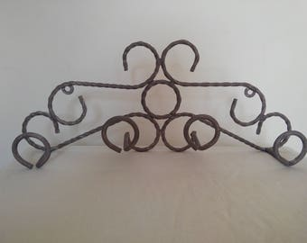 Vintage French wrought iron coat rack refinished in a lovely lavender colour
