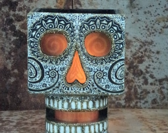 Mexican Day of the Dead Skull Sconce with Candle. Unique design. Fun theme. Brilliant finish. Great Gift . Hand made Wood product.