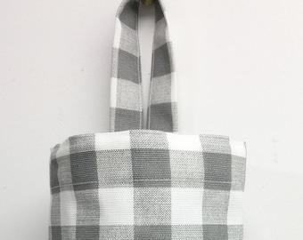Black White Check Retro Chef Plastic Grocery Bag fabric rag Storage Holder