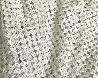 """52"""" Wide White Delicate Cutwork Lace Fabric Embellished with Sequins - Sold by Half Yard"""