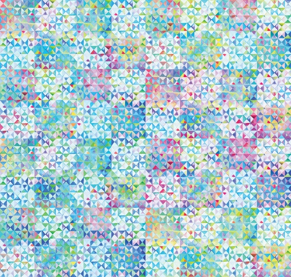 Multiple Sizes Moda Fabric Cotton Digital Triangles Gradients Multi