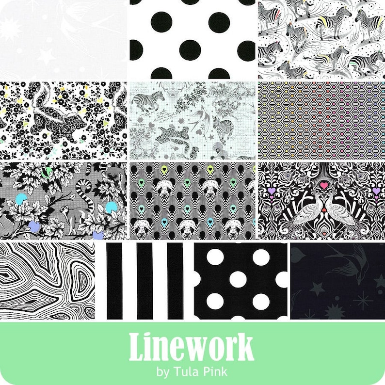 Free Spirit 42 5 x 5 Precut Fabric Squares Linework 5 Charm Pack by Tula Pink