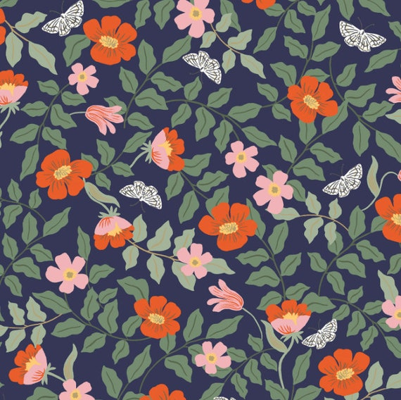 Rifle paper co fabric Cotton and Steel Rayon Fabric,Strawberry print Strawberry Fields rayon fabric Strawberry Fields Ivory Rayon Fabric