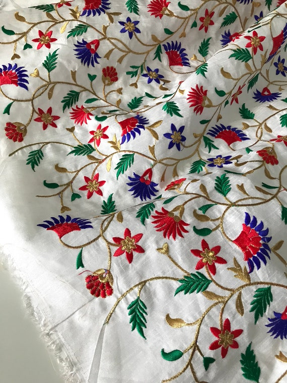 RAW SILK Embroidered Floral