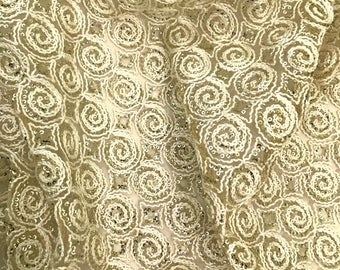 Embroidered Net Fabric Embellished with Sequins - Sold by Half Yard