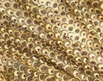 Gold Embroidered Net Fabric Embellished with Sequins - Sold by Half Yard
