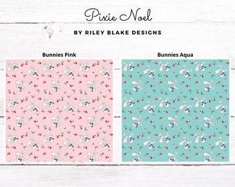 Riley Blake - Pixie Noel - Bunnies Pink/Bunnies Aqua Cotton Fabrics by Tasha Noel -*Each Sold by the Yard*