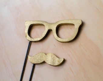 Mustache and Glasses Wood Prop