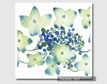 Hydrangea watercolor painting / 8x8, 8x10, 11x14, flowers, blue, white, Hydrangea print, Hydrangea illustration,  instant download