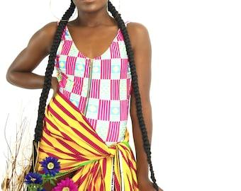 Kwalina SS19 (pink, blue & yellow) swimsuit, 1 peice african print ankara
