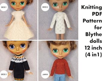 Knitting pattern clothes for 12 inch Blythe dolls, Halloween Dress for Blythe, jumper for Blythe, Elegant Dress for Blythe