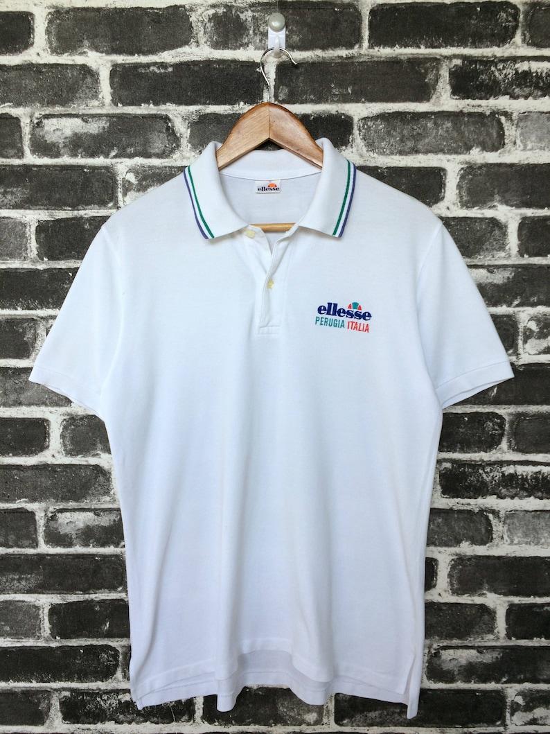 e928d8be8fae1 Vintage Ellesse Polos Shirt Ring Collar 80s Mens Sport tennis/golf sport  wear/basic polo outdoor/casual wear/ games wear