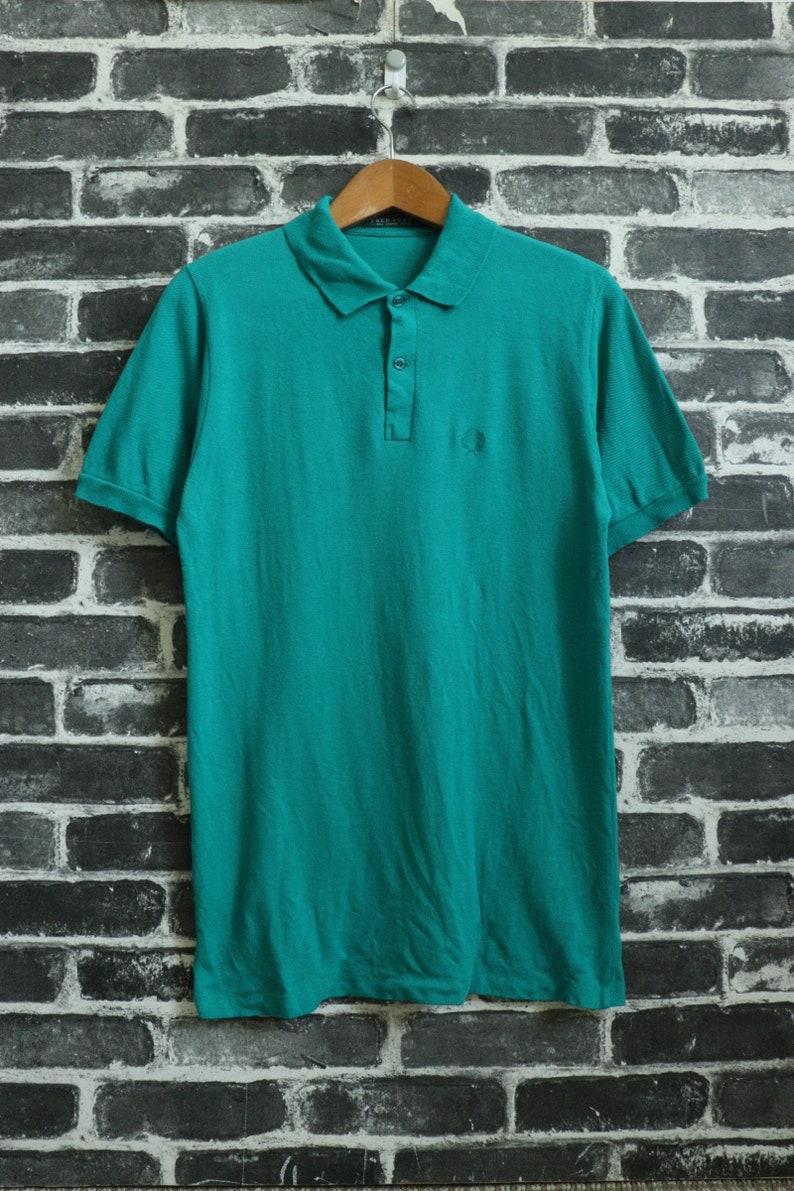 8fbe524dc45b8 FRED PERRY Polo T shirt long sleeve Vintage Grass fade Sport Tennis wear/  Paul weller Punk/Indie/Skin head/ Made in England Size S