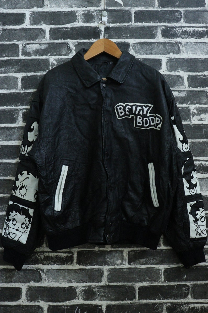 317338721 Vintage 90s BETTY BOOP Bomber button Jacket Big Cartoon Full Leather  Universal Adult Street Wear/Cool Wear Band/Fun Rider/Punk Size L