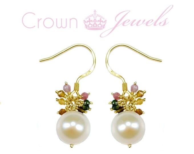 Pink Chalcedony Earrings Pearl Earrings Gemstone Earrings Gold and Gemstone Cluster Earrings Birthstone Earrings gemstone dangles Pink