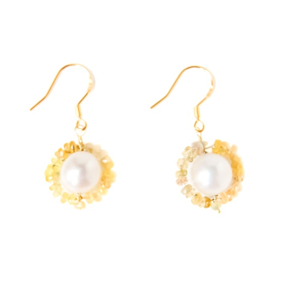 9ct Gold Plated Quartz Ethical Pearl Drop Gemstone Earrings