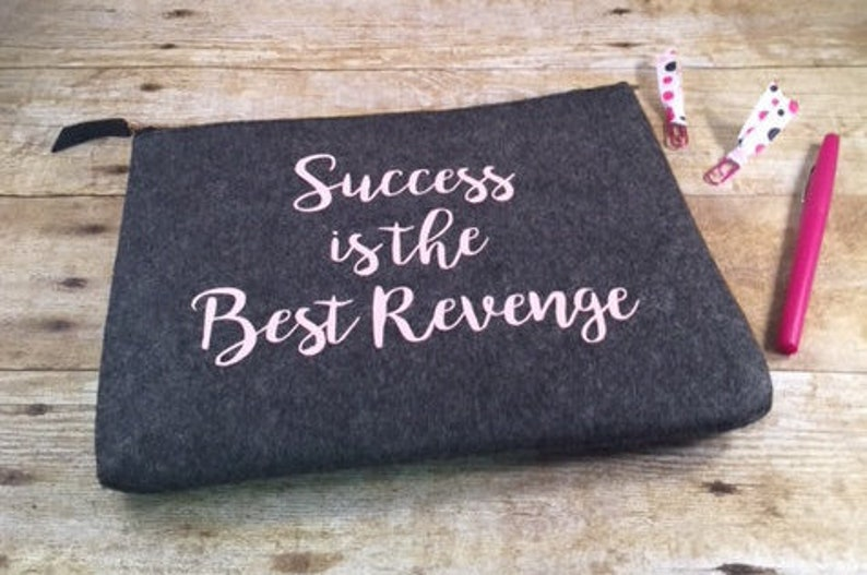 Success is the Best Revenge, Personalized Pouch, Planner pouch,  Personalized Zipper Pouch, Ladies Birthday Gift, Gift for Her, Monogram Bag