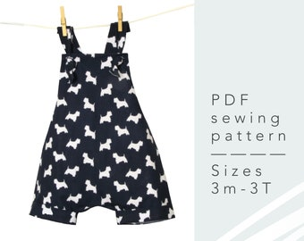 Boys Short Bib Romper with straps - PDF Sewing Pattern for Babies