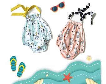 Baby Beach Romper pattern, Romper pattern, Baby Sunsuit pattern, Baby patterns, Beachwear for Baby, Summer Romper PDF, Baby sewing patterns