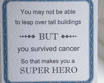 Cancer Survivor Card - Cancer Card - Card for Cancer Patient - You Beat Cancer Card - Get Well Card - Super Hero Card - Cancer Awareness -