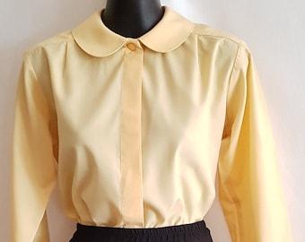 dcfa653eef86ce Vintage Yellow Peter Pan Collar Long Sleeve Blouse Size Medium