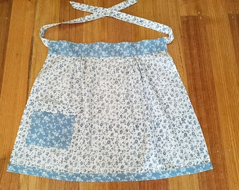 Vintage Blue and White Floral Half Apron with Pocket
