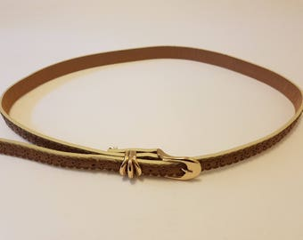 Thin Tan and Cream Floral Gold Buckle Belt Size Small