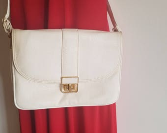 Vintage White Satchel Envelope Handbag / Cross Body Shoulder Bag by Gold Crest