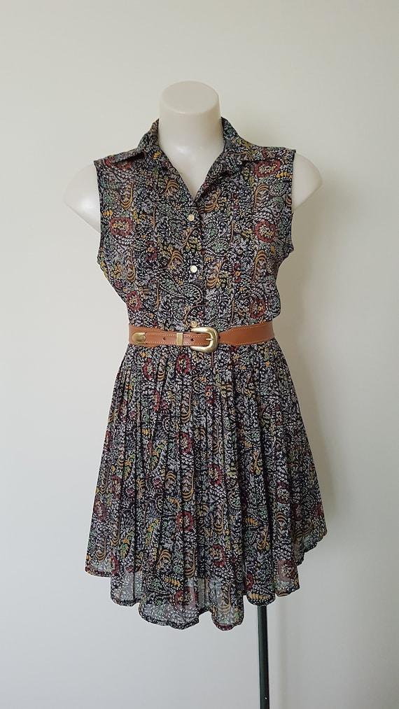 sgdgd Boatneck Sleeveless Vintage Art Tree Dress with Belt