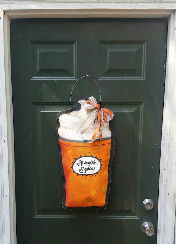 Stuffed burlap door hanger: Pumpkin spice latte