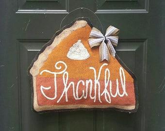 Pumpkin Pie Burlap Door Hanger, Fall Welcome Sign, Halloween Trick Or Treat Front Porch Decoration, Wreath