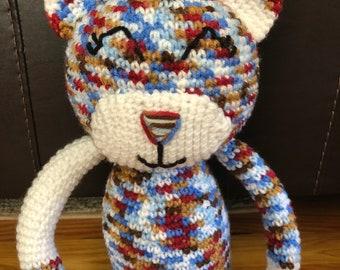 Multi-Colored Crochet Cat