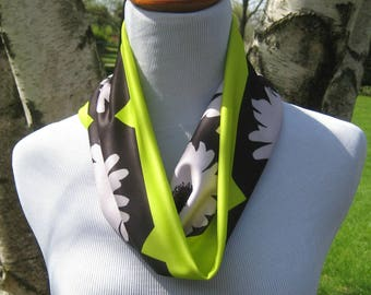 Free Shipping! Original design from a photograph! Flower infinity scarf, Lime Black & White infinity scarf, L Bennett Designs