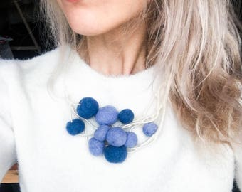 Blue statement necklace, blue necklace, blue statement jewelry, unique jewelry, handmade gift, gift for her, boho, fashion jewelry