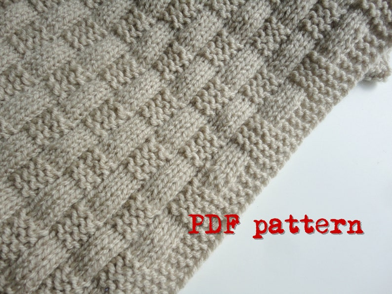 Easy Beginner Knit Basket Weave Baby Blanket PDF Pattern image 0