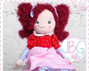 Personalised Rag Doll, Baby Girls Gift, Birthday present, Embroidered Rag Dolls,  Red Hair Ragdoll