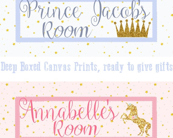 Personalised Crown/Unicorn Canvas Print, Nursery Wall Art, Birth Stats, Custom Print, Canvas Print, New baby gift, Christening, Baby Shower