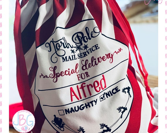 Personalised Embroidered Large Candy Stripe Special Delivery Santa Sack - Christmas Gift