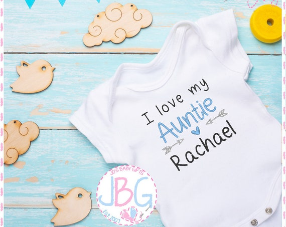 Personalised 'I Love My Auntie' Baby Boys Vest - Embroidered Bodysuit - Fun Gift for Nephew - Baby Grow