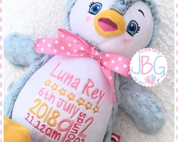 Personalised Teddy Bear,Cubbie Signature Range Penguin, Teddy bear, custom bears, embroidered teddy, baby gift, personalised teddy