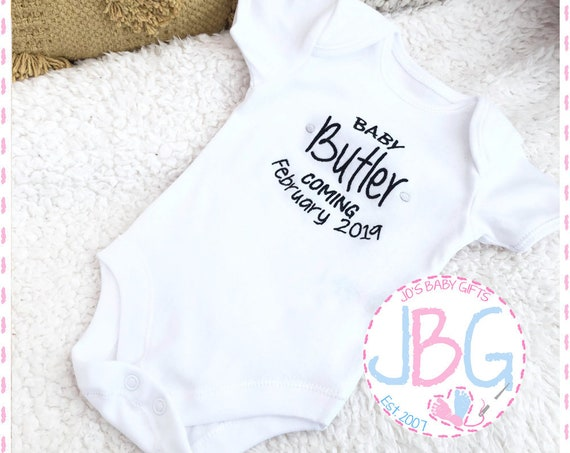 Personalised Baby Vest, Embroidered bodysuit, Pregnancy announcement, Fun gift for a new baby, or baby shower