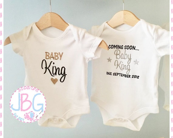 Personalised Baby Vests -2 Pack, Embroidered Onsie Bodysuit, Pregnancy announcement, Fun gift for a new baby, or baby shower