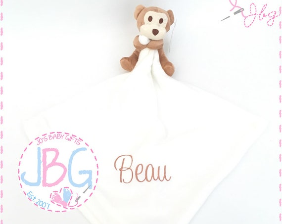 Personalised monkey comforter, mumbles comforter blanket, christening and new baby gift, monkey blanket