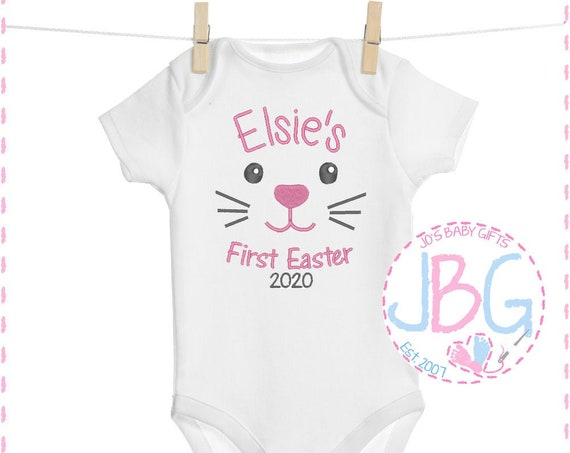 Personalised 'First Easter' Baby Girls Vest - Embroidered Bodysuit - Fun Gift for 1st Easter - Baby Grow