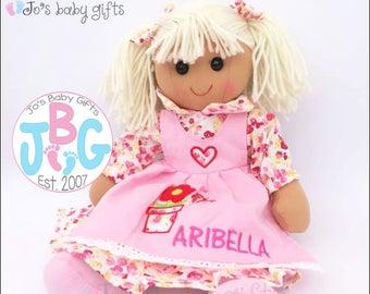 Personalised Floral Rag doll, Embroidered Childrens Doll, rag doll, custom doll, birthday gift, little girls gift, flowergirl/wedding gift