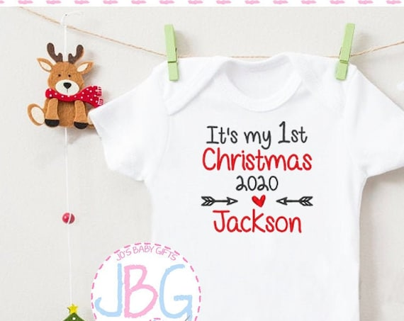Personalised Baby Christmas vest or sleepsuit onsie, First christmas Design, Embroidered with any name