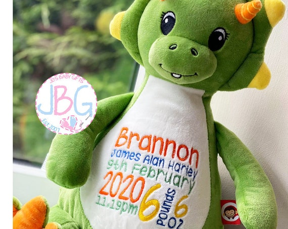 Cubbies Dinosaur, Personalised Embroidered Dinosaur Teddy Bear, Personalised Stuffie, Great birthday gift, Signature Range